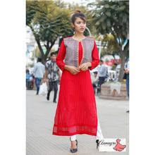 Red Chicken Printed Long Kurti With Waist Coat For Women