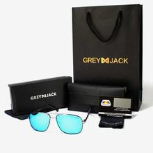 GREY JACK Gun/Silver Framed With Ice Blue Lens Polarized Aviator Sunglasses (Unisex) - P0966