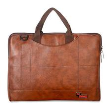 NVSBAGS Leather 14 inch Brown Laptop Bag for Men,