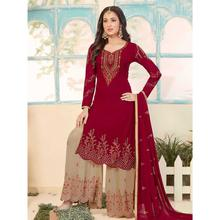Stylee Lifestyle Maroon Georgette Embroidered Dress Material (1784)