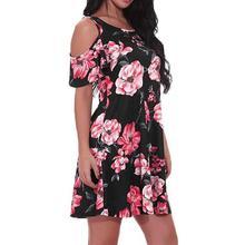 Women's Casual Off Shoulder Dress Short Sleeve Flower Print