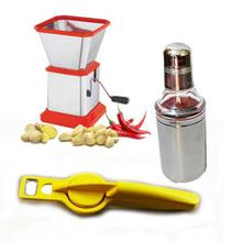 Combo Of Chilly Cutter, 500 ml Oil Bottle And 2 In 1 Lemon Squeezer