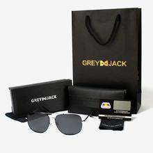 GREY JACK Black/Silver Framed With Black Lens Polarized Square Aviator Sunglasses (Unisex) - S1231