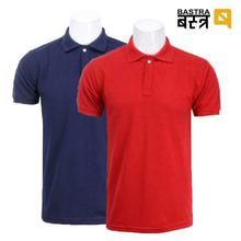 Combo Of 2 Bastra Polo Neck T-Shirt- Red/Navy