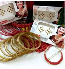 Combo Of Potey Mala+ Stone Studded Bangles+Stone Chandrama Clip And Free Bindis (3 Packets)- Red/Green/Yellow