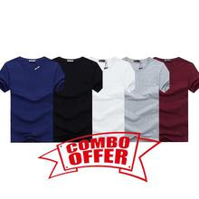 Hifashion- 5 in 1 Combo Round Neck Cotton T-shirt For Summer