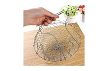 Foldable Steam Rinse Strainer Stainless Steel Colander Magic Mesh Cooking Basket