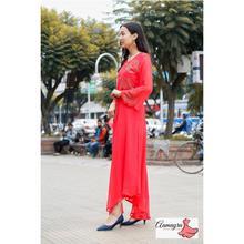 Dark Peach Red Ciffon Long Gown For Women