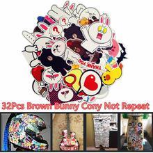 32Pcs Brown Bunny Cony Waterproof Stickers-Multicolor