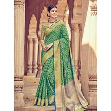 Stylee Lifestyle Full Traditional Jacquard Woven Design With Jacquard Blouse Green Saree with Gold Blouse for Wedding, Party and Festival