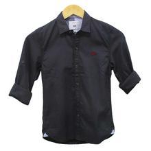 Black Cat Dark Grey Patterned Shirt For Boys - 17001812