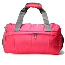 Red Nylon Travel Duffle Bag