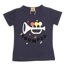 Black Cat Navy Blue Trumpet Printed T-Shirt For Baby Boys - BCKG1735