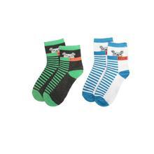 Combo Of 2 Pair Printed Socks For Kids -Black/White
