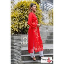 Red Ciffon Long Kurti For Women