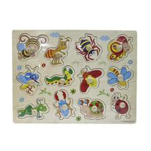 Wooden Sticky Cartoon Insects Educational Material For Kids