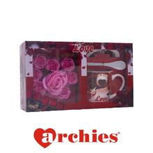 Love Ceramic Mug with Spoon, Lid and Pink Rose