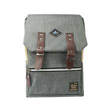 Grey Multi Zippered Flap Unisex Backpack- 6001