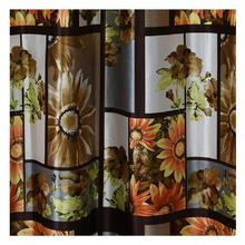 Digital Print Curtains With Orange Floral Patterns