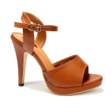Cherry Brown Ankle Strap Heel Shoes For Women - 39062A