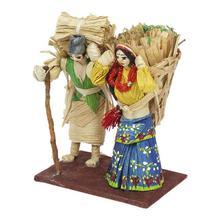 Multicolored Corn Husk Working Couple Showpiece - Small