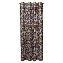 Multi Purple Floral Long Crush Patch Curtains