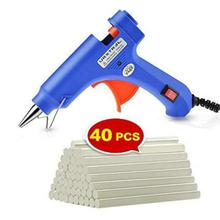 Mini Hot Glue Gun With 40 Pieces Melt Glue Sticks-Blue