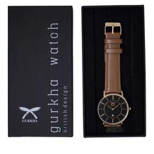 Gurkha Unisex Watch in Black Dial and Normal Brown Leather Strap