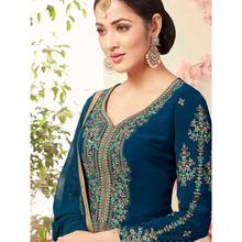Stylee Lifestyle Navy Blue Georgette Embroidered Dress Material (1787)
