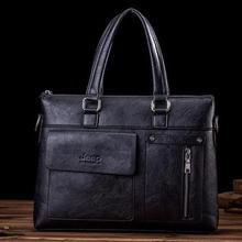 Men's JEEP Leather Business Briefcase Laptop Bag