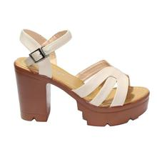 Cream Ankle Strap Block Heel Shoes For Women