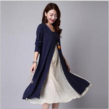 Envsoll Two-piece Linen Dress Maternity Dresses Pregnant Skirt