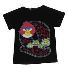 Black Angry Bird Printed T-Shirt For Boys