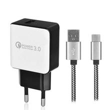 QC3.0 Fast Charging EU Plug USB AC Charger + USB 3.1 Type-C  Charging Data Cable for Samsung Galaxy S9 / S9 Plus / S8 / S8 Plus