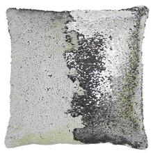 White/Silver Sequin Embellished Cushion