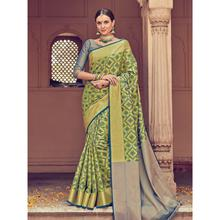 Stylee Lifestyle Full Geometric Jacquard Woven Design With Jacquard Blouse Green Saree with Blue Blouse for Wedding, Party and Festival