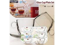 Green Apple's Glass 6 + 6 Cup and Saucer Set