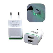 PTron Electra 210 2 USB Ports 2.1A & 1A Fast Travel Wall Mount Charger With Light For All Smartphones (European Pin)