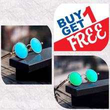 Buy 1 Get 1 FREE Steampunk Unisex Sunglasses- Green/Blue