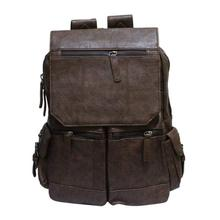 Brown Solid Leather Laptop Backpack - Unisex