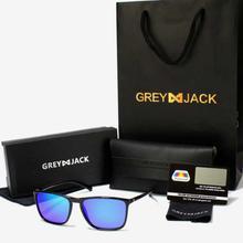 GREY JACK Black Framed Polarized Blue Mercury Square Wayfarer Sunglasses (Unisex)