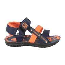 Navy/Orange Velcro Strap Sandals For Boys