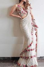 Latest Trending Ruffel Designer Saree with Embroidery Work Georgette