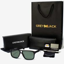 GREY JACK Black Framed Polarized Classic Square Wayfarer Sunglasses (Unisex)