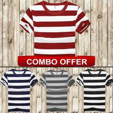 Hifashion - 4 Combo T-Shirt - Cotton Round Neck Striped Unisex T-Shirt For Summer