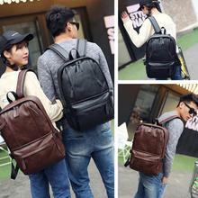 Korean Design Two Front Pockets PU Leather Shoulder Laptop Backpack