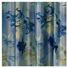 Digital Print Curtains With Blue Lily Patterns