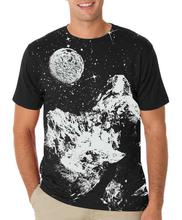 Black 'Moon' Printed T-Shirt For Men