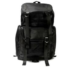 Black Leather Laptop Backpack - Unisex