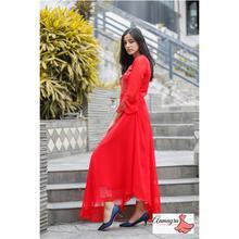 Red Ciffon Long Gown For Women